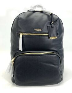 Tumi Voyageur Halle Black Leather Backpack Gold Hardware 17001D