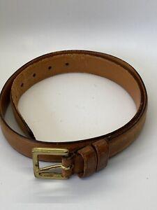 "Coach Tan Men Belt Size 34"" 85cm Genuine Leather Brass Buckle"