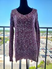 Abound Women's Knit V-Neck Sweater Long Sleeve Red Beige Cream 100% Cotton Large