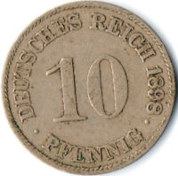 COIN / GERMAN EMPIRE / 10 PFENNIG, 1898  #WT3136