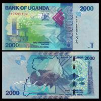 Uganda 2000 (2,000) Shillings Banknote, 2013-2015, P-50, UNC, Africa Paper Money