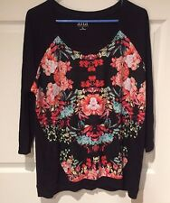 A.N.A  KNIT TOP Black MULTI-COLOR FLORAL FRONT 3/4 Sleeve  Size XL