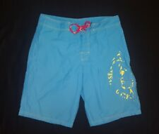 Diesel Only The Brave Cargo Swim Shorts Trunks Sky Blue + Yellow Graphics Mens M