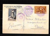 Schweiz 181x Briefe/Belege auf Flugpostkarte mit Beifrankatur nichtamtlicher Flu