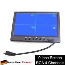 """9"""" TFT LCD Quad Split Monitor 4 Kanal Cinch Video Eingänge für Auto LKW CCTV"""