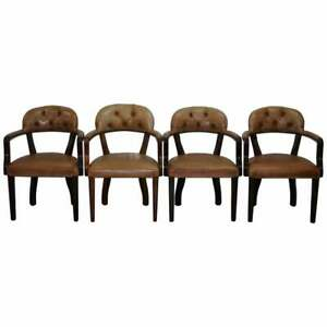 FOUR RRP £9200 BROWN LEATHER HOUSE OF CHESTERFIELD COURT OFFICE DINING CHAIRS