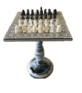 Chess Game Table Mother of Pearl Inlaid Chess Side Table, Coffee Table