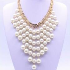 Multi-layer Pearl Beads Pendant Choker Collar Necklace Adjustable Gold Chain