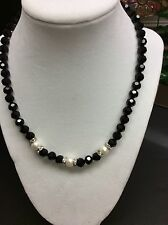 Black Crystal Necklace With Freshwater Pearls Matching Earrings