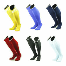 Mens Boys Sports Football Soccer Rugby Plain Long Knee Socks Cotton Stocking cou
