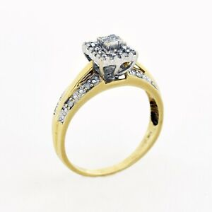 10k Yellow & White Gold Estate Diamond Engagement Ring Size 8.25