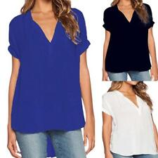 Women Girl Loose Casual Summer Chiffon V-Neck Tops T-shirt Loose Blouse Tee LG