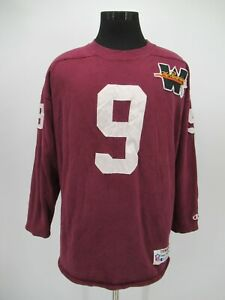 P4940 VTG Champion NFL #9 Red Skins Patched Long Sweatshirt Made In USA Size XL