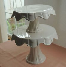 New off white Ceramic Pedestal Cake Stand seat top of each other two tiers