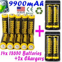 9900mAh Powerful 10Pcs 18650 Battery Li-ion 3.7v Rechargeable Battery + Charger