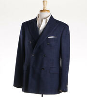 NWT $2395 BELVEST Blue-Black Check Double Breasted Wool-Cashmere Sport Coat 38 R