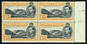 SG 39a ASCENSION 1940 - 1d BLACK & YELLOW-ORANGE BLOCK OF 4 - UNMOUNTED MINT