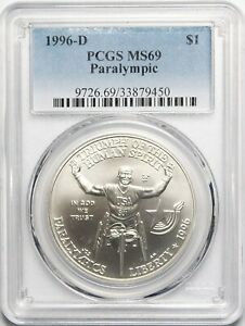 1996-D Paralympic Commemorative Silver Dollar Coin. MS69 PCGS Graded. 33879450