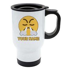 Personalisiert Gesicht Emoji Weiß Reisebecher - Angry 3 - Nase Rauch - Add Ihr