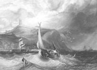 Yorkshire, SCARBOROUGH CASTLE SAILBOAT in OCEAN WAVES ~ 1836 Art Print Engraving
