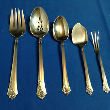 5 Heirloom Damask Rose Sterling Silver Flatware Serving Pieces