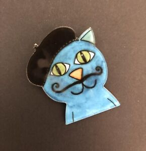 French Blue Beret Cat moustache Artist Quirky Funky Steampunk Acrylic Brooch,