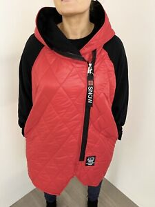 Jacket Quilted Hood 100% Natural Red Label Lightweight Warm Red Long One Size