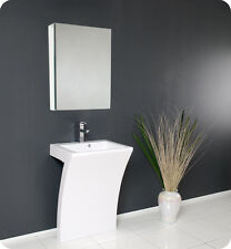 Fresca Quadro White Pedestal Sink - Modern Bathroom Vanity w/Faucet and Mirror