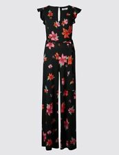 New M&S PER UNA Black Floral Belted Frill Sleeve Jumpsuit Sz UK 10 & 18