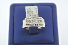 Men's Fancy 18k White Gold 1.25 CT Princess & Round Cut Diamond Ring, 11.6gm