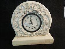 Santini Distressed Italy Style Quartz Desk/Shelf Clock Carved Wood Painted Ivory