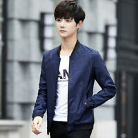 Autumn Mens Jacket Korean Fashion Slim Casual Baseball Coat Outwear Overcoat