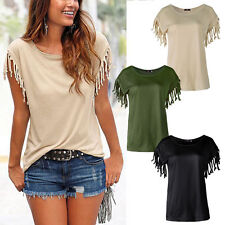 Women's Hip Length Short Sleeve Sleeve Casual Cotton Blend Tops & Shirts