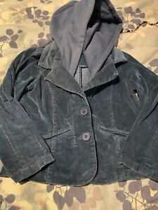 Woven Works Couture For Kids Sz 5 Girls Velvet Button Up Jacket / Hood Sea Blue