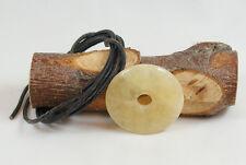 Donut Anhänger CALCIT ORANGE ca. 40 mm, mit Lederband PIScheibe PIstein