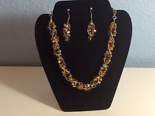"""ASI Jewelry Gold Tone Citrine Color Bead 18"""" Necklace And Earring Set NWT"""