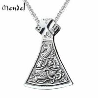 MENDEL Mens Norse Amulet Viking Sign Axe Pendant Necklace Stainless Steel Chain