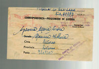 1942 South Africa CApe Town Prisoner of War Internment Camp Cover POW to Italy
