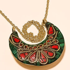 Malachite With Red Coral Gemstone Gold Plated Tibetan Pendant Chain 17-18""