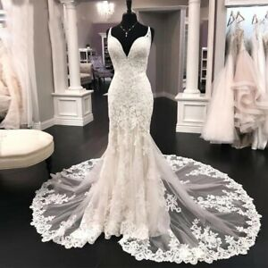 Mermaid Big Train Floor Length Tulle Lace Wedding Dresses With Strap Bridal Gown
