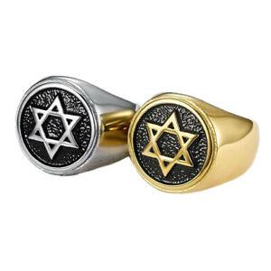 Men Stainless Steel Jewish Star Of David Hexagram Signet Band Gold Protect Ring