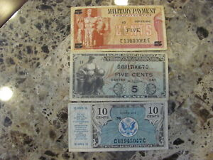 RARE LOT (3) Military Payment Certificates
