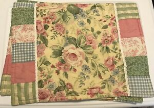 Handmade Placemats Place mat Patchwork Floral Rectangle Colorful Shabby Chic