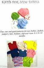 KNITS FOR NEW BABIES ~Jackets, Vests, Bonnets (4 & 8 ply) Knitting Patterns BK40