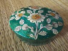 Hand painted kashmir papier mache oval sea green glitter floral trinket box