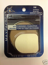 MAX FACTOR MIRRORED COMPACT POWDERED FOUNDATION COOL BRONZE #106 NEW.