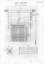 Stampa antica TELAIO per TESSITURA JACQUARD 1848 Old print