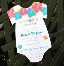 Luau Themed Hula Girl Baby Shower Invitations - All Wording Customized