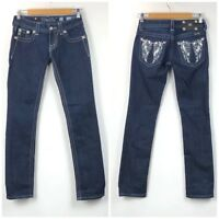 Miss Me 25 Womens Dark Wash Angel Wings Embellished Straight Denim Jeans