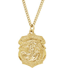 "St. Michael Medal 24"" Necklace In 24K Gold Plated"